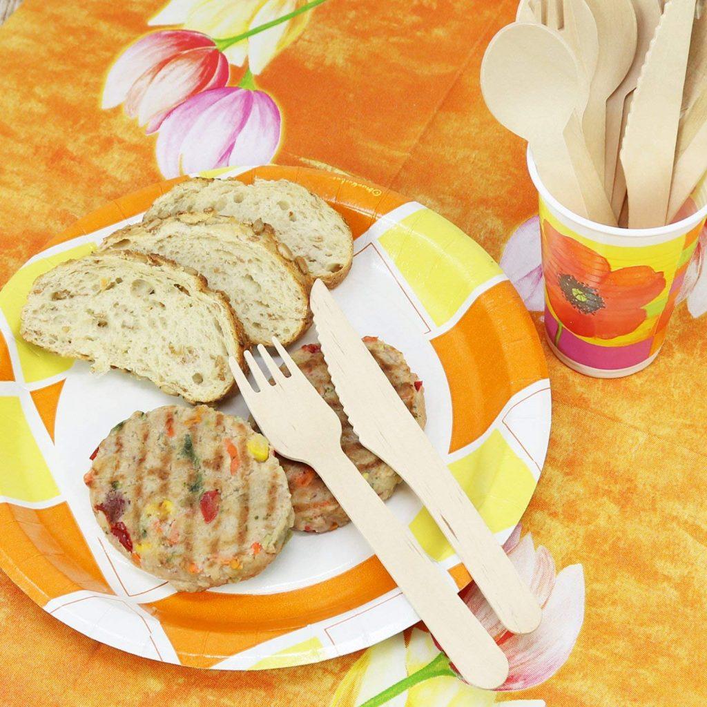 juego de cubiertos de madera de 72 piezas, cubiertos desechables que consisten en cuchara, tenedor y cuchillo de madera