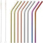 Pajitas Reutilizables Coloreadas de Acero Inoxidable - Incluye 2 Cepillos de Limpieza Largos
