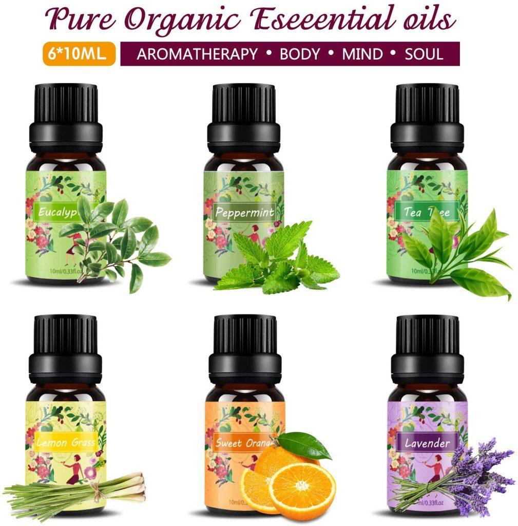 Set de aceites esenciales, Natural Puro Aromaterapia Aceite Aromático,Lavanda, Hierba de Limón, Menta, Eucalipto, Árbol