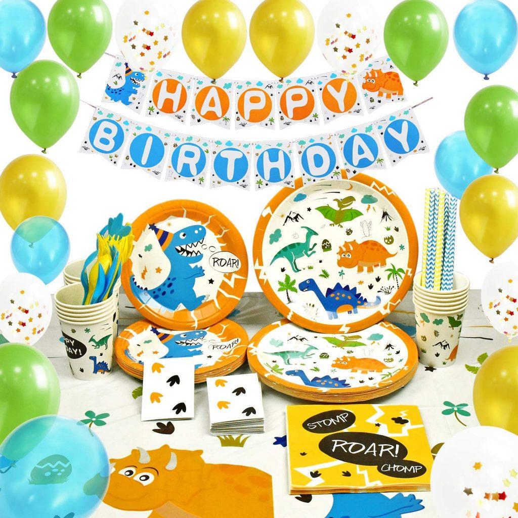 Suministros de Fiesta de Dinosaurio Set - Decoracion de Fiesta para Chico Niños Cumpleaños Servilletas Cubiertos Mantel Platos