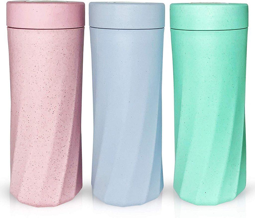 Botella de Agua de bambú, Libre de BPA y Biodegradable, Durable y a Prueba de Fugas, Fibra de bambú ecológica