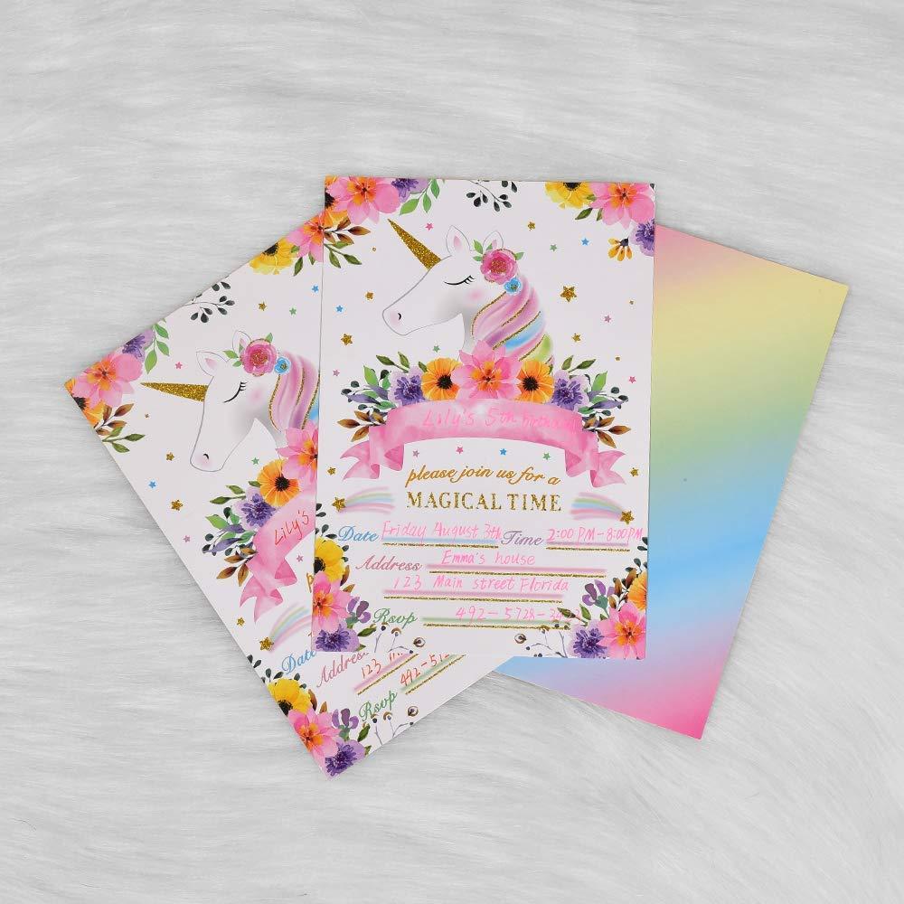 Arcoíris Rutilar Unicornio Invitaciones - Mágico Unicornio Suministros de Fiesta para Chicas, Relleno Paquete de Invitaciones