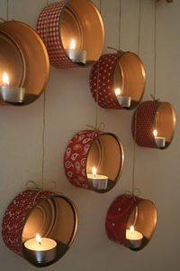 luces navideñas con velas