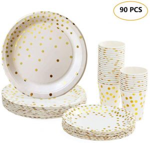 Platos Desechables y Vasos Cumpleaños 90 Piezas con Patrón Dorado