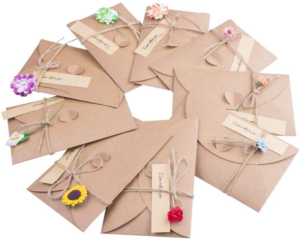 Tarjeta de Felicitación, Papel Kraft Retro Hecho a Mano, Sobres en Blanco, Flores Secadas Postal Decorada para Persona Especial y Ocasión Importante