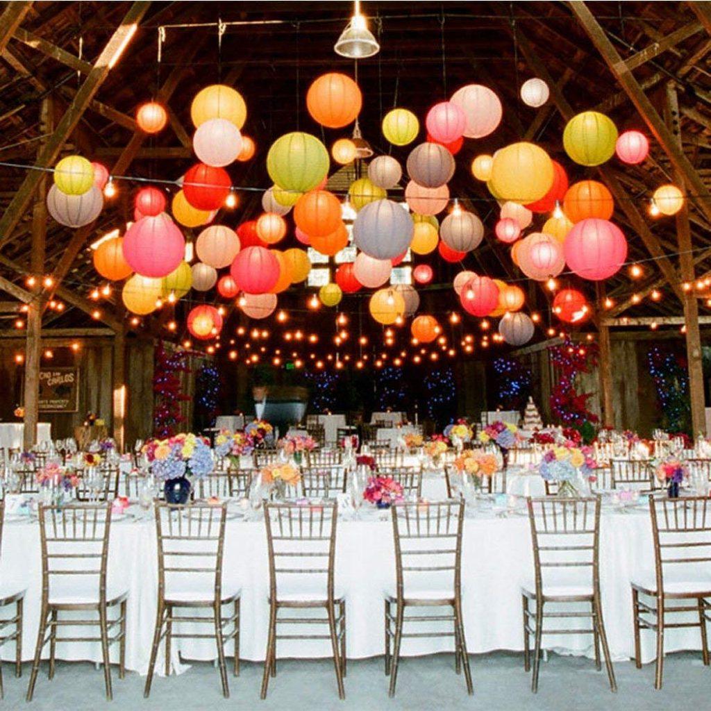 lámparas redondas de papel tipo globo
