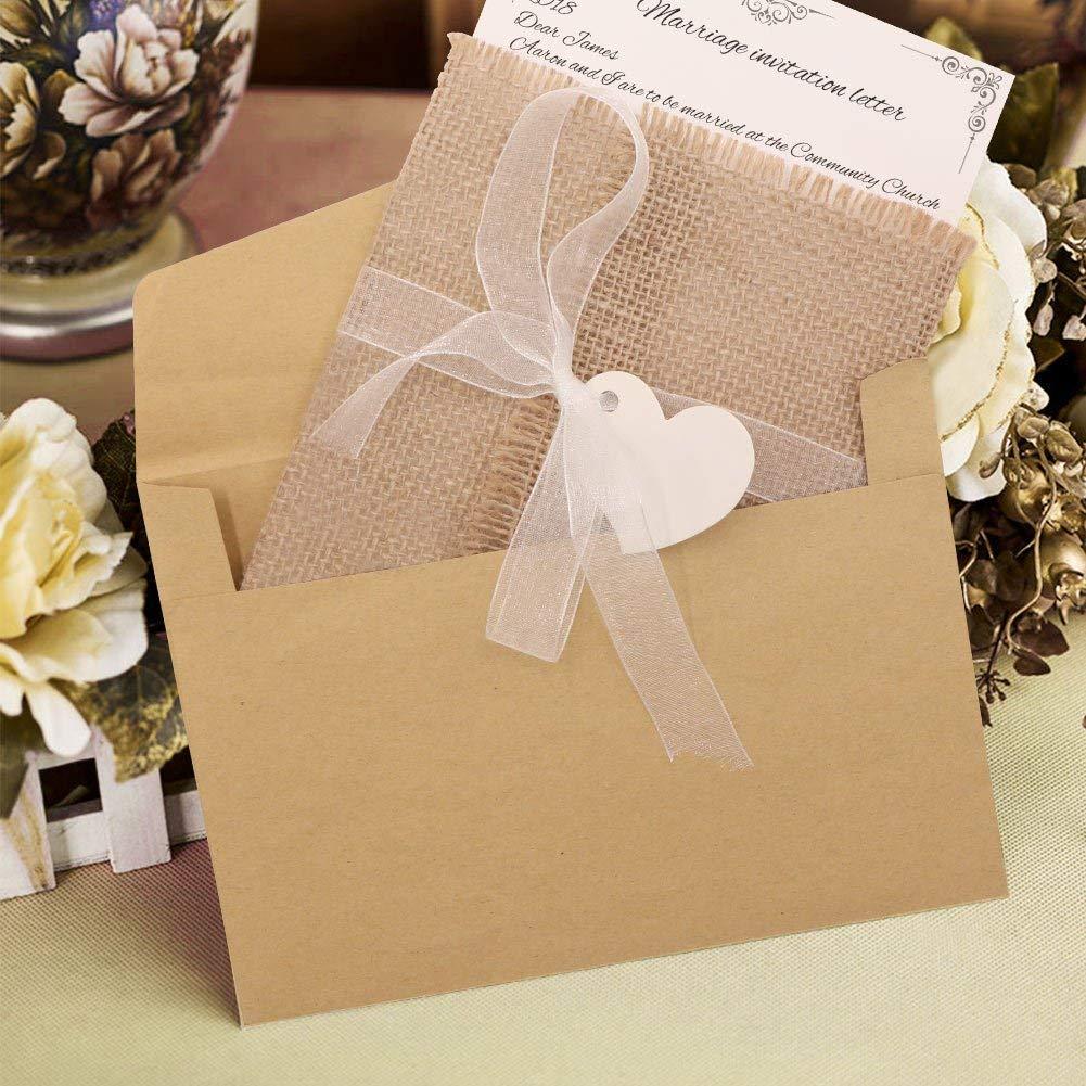 invitaciones de boda rústicas de arpillera con páginas interiores, sobres, sellos adhesivos, cintas y marcadores de corazón para bodas, bodas de bosque y baby shower